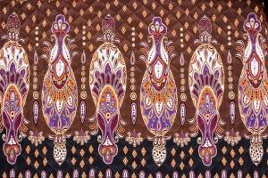 Ткань стеганая плащевка Италия (двухсторонняя, полиэстер 100%, коричнево-черный, орнамент, шир. 1,50м)