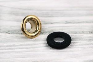Люверс металл 12 мм (тканевая обивка, отполированный, золото, никель, черная ткань, цена за упаковку)