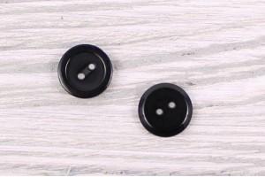Пуговица 2 дырочки Италия (полуглянец, черный, пластик, 1,2 см)