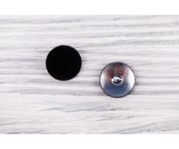 Пуговица на ножке Италия (обтянута бархатом, черный, метал, 1,9 см)