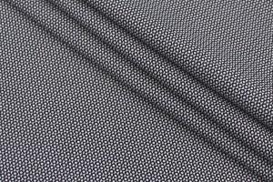 Ткань коттон Италия (коттон 93%, эластан 7%, черно-белый, мелкий рисунок, рубашка, шир. 1,55 м)