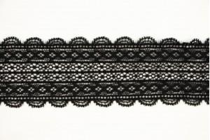Кружево Италия (полиэстер 95% эластан 5%,  черное кружево, цветы, ширина 5 см)