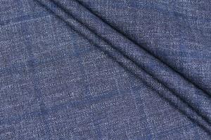Ткань шерсть Италия Loro Piana (шерсть 100%, клетка, синий, шир. 1,60 м)