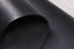 Кожа ременная КРС Италия (черная, гладкая, толщина 3мм)