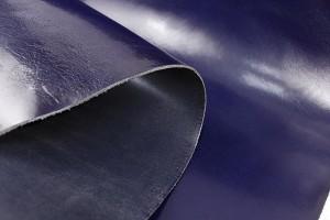 Кожа ременная растительного дубления КРС Италия (сине-фиолет, гладкая, глянец, толщина 3,6 мм)