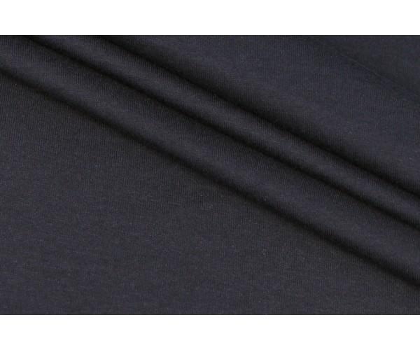 Ткань футболочный трикотаж Италия (коттон 100%, эластичность 35% на 10см, черный, шир. 1,65 м)
