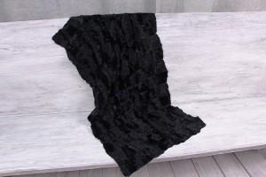 Меховое полотно козлик шунгау (черный блестящий в маленький квадрат)