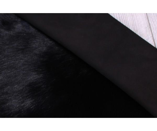 Дубленка козлик (тоскана) на замшевой основе (черный, мех длинный черный)