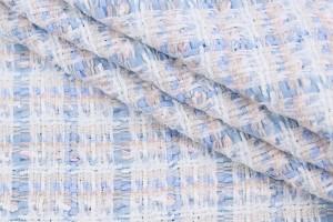 Ткань букле в клетку Италия (вискоза 40%. полиестер 60%, разноцветный, шир. 1,40 м)