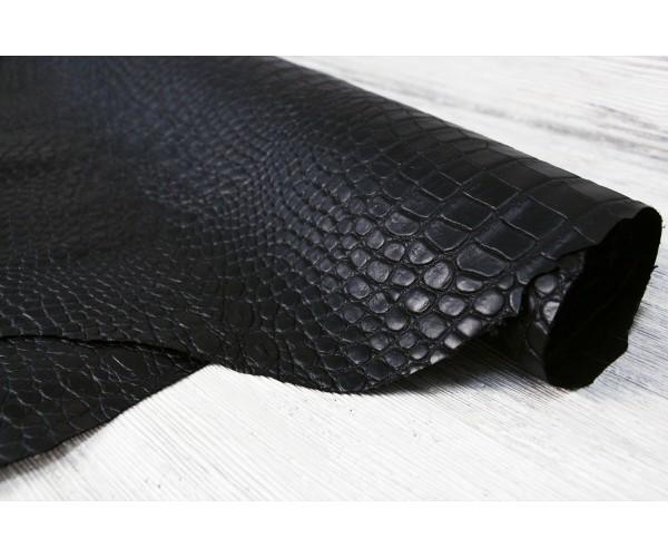 Кожа галантерейная теленок Италия (черный,  штамп крокодил, лак)