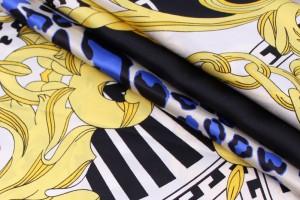 Ткань шелк Италия (шелк 100%, купон 1,45 м, разноцветный узор, ширина 1,50 м)