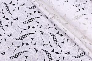 Ткань гипюр Италия (коттон 80%, полиэстер 20%, белое кружево, цветы, шир. 1,30 м)