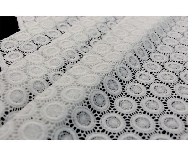 Ткань гипюр Италия (коттон 100%, белое макраме, плетеный горох, шир. 1,45 м)