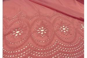Ткань прошва Италия (коттон 100%, коралл, маркизет с шитьем по краю, шир. 1,40 м)