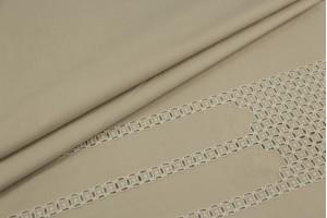 Ткань прошва Италия (коттон 100%, бежевая ткань с вышивкой, шир. 1,40 м)
