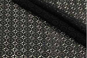 Ткань прошва Италия (коттон 100%, черный, цветы, шир. 1,40 м)