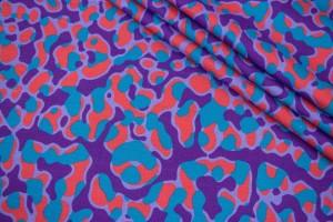 Ткань лен Италия (лен 30%, коттон 65%, эластан 5%, фиолетовый, кляксы, шир. 1,50 м)