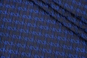 Ткань жаккард Италия (вискоза 30%, полиэстер 70%, черно-синий, гусиные лапки, шир. 1,35 м)