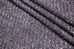 Ткань пальтовая, рогожка Италия (шерсть меринос 95%, люрикс 5%, серо-коричневый, шир. 1,55 м)