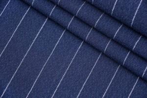 Ткань костюмно-плательная Италия (шерсть 100%, сине-серый, полоски, шир. 1,50 м)