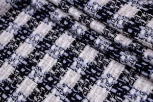 Ткань пальтовая Италия (коттон 30%, шерсть 40%, полиэстер 30%, черно-белый, клетка, шир. 1,35 м)