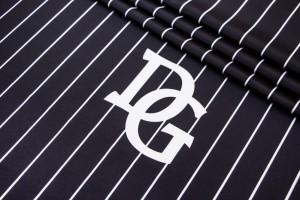Ткань плащевка Италия (плотная, водоотталкивающая, полиэстер 100%, черный, полоски, шир. 1,40 м)